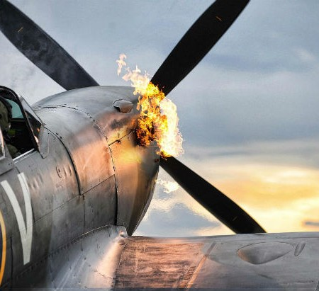 Merlin-Engine-Starts-on-a-Supermarine-Spitfire-