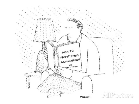 robert-mankoff-man-sits-reading-book-how-to-profit-from-armageddon-new-yorker-cartoon