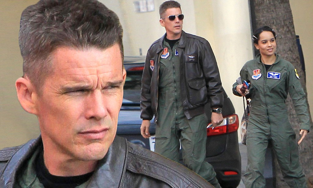 EXCLUSIVE: Ethan Hawke and Zoe Kravitz get into Air Force costumes while filming scenes for 'Good Kill'