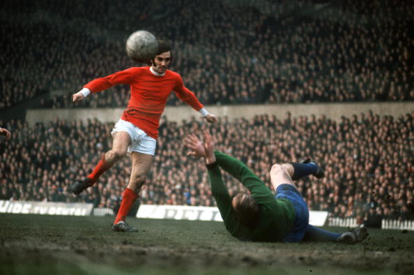 Sport, Football, pic: circa 1968, Manchester United's George Best scoring against Sheffield Wednesday  (Photo by Bob Thomas/Getty Images)