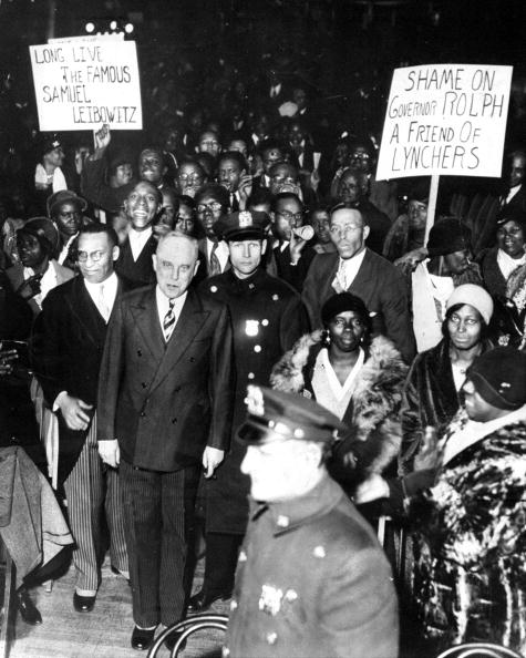 UNITED STATES - DECEMBER 12: Scottsboro case hero Samuel Leibowitz was welcomed home in Brooklyn during a rally staged by admirers at Arcadia Hall. (Photo by Jack Gordon/NY Daily News Archive via Getty Images)