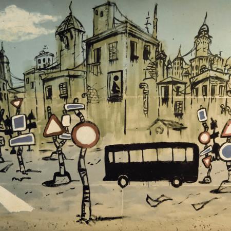 Foto: un murales di Marco Rocchi, Giuseppe Dell'Olio, Alessio Lucchesi a Calenzano