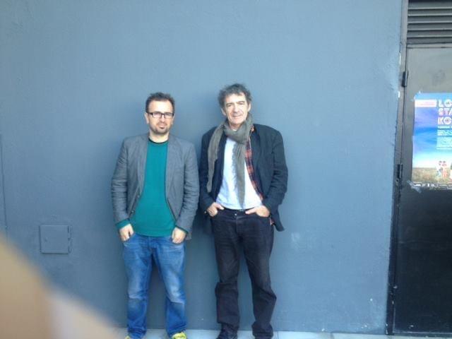 Jeton and Miki Manojlovic in front of Qendra (1)